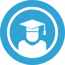 blue, education, magister, round, science icon