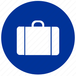 bag, baggage, luggage, round icon