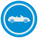 auto, blue, cabrio, cabriolet, car, round icon
