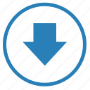 arrow, bottom, down, round, sign icon