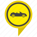 auto, cabrio, cabriolet, car, pointer, yellow icon