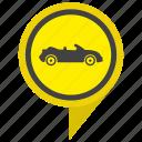 cabrio, cabriolet, car, location, poi, pointer, yellow icon