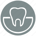 care, dental, implant, round, stomatology, tooth, view icon
