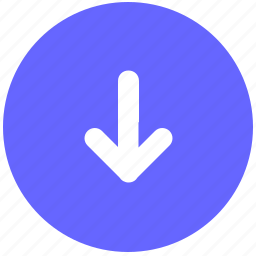 arrow, bottom, down, navigation, round, sign icon