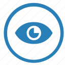 eye, function, mode, preview, round, view, visible icon