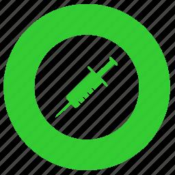 doping, injection, med, medicine, round, syringe icon