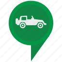 auto, cabrio, cabriolet, car, jeep, poi, pointer icon