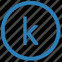 k, keyboard, letter, lowcase, virtual icon