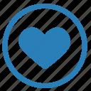 heart, like, love, romantic, round icon