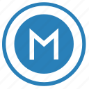 m, metro, metropolitan, pointer, round, sign icon