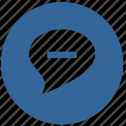 comment, dialog, minus, round, stop icon