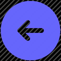 back, go, left, navigation, round icon