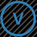keyboard, letter, lowcase, v, virtual icon