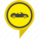 cabrio, cabriolet, location, pin, pointer, yellow icon