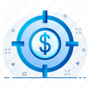currency, dollar, finance, money, target icon