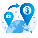 country, exchange, foreign, locate, locate us, location, rate icon
