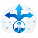 path, pathway, business, direction, man, office icon