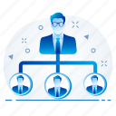 hierarchy, organisation, organization, structure, business, management, team icon