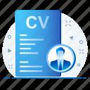 curriculum vitae, cv, employee, profile icon