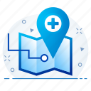hospital, locate, location, medical, navigation, us icon
