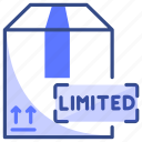 box, delivery, limited, package, shipping icon
