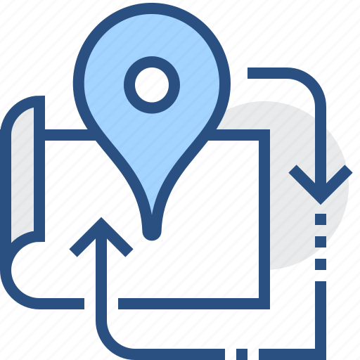 arrow, locator, map, navigation, pin, pointer, route icon