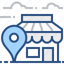 boutique, gps, locator, pin, pointer, shop, store icon