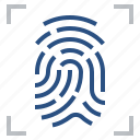 fingerprint, identification, lock, password, privacy, protection, security icon