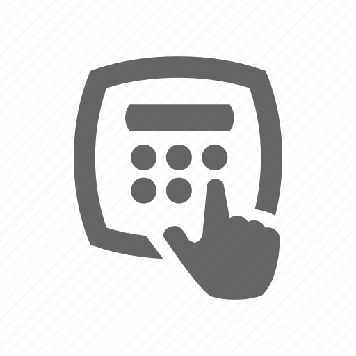 calculate, finger, hand, pin icon