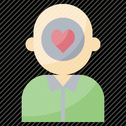 care, head, health, heart, love, mental, person icon
