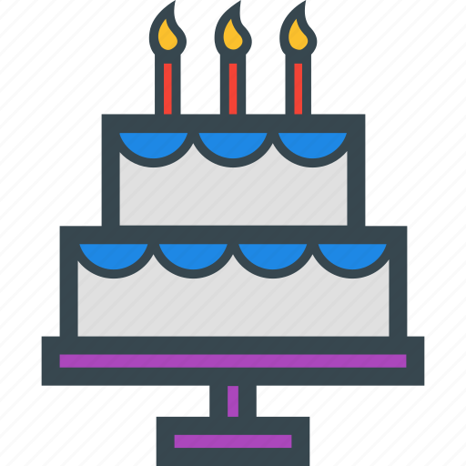 Birthday Cake Candles Food Party Icon