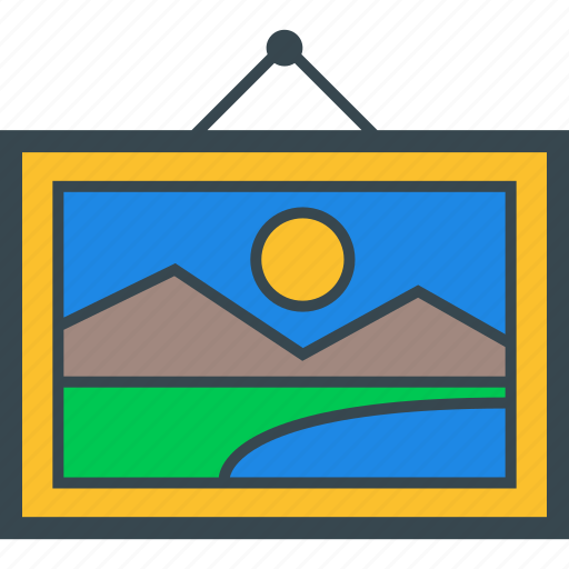 board, frame, landscape, painting icon