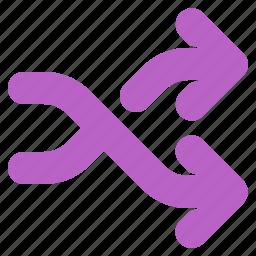 arrow, music, shuffle, track, way icon