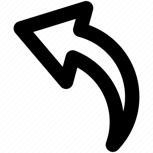 arrow, back, backward, bent, curved, last, left, previous, rearward, reply, rotate, undo icon