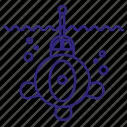 boat, bubble, marine, submarine, transport, underwater, water icon