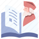 biography, book, diary, literature, paper, story, writing icon
