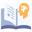 book, brain, education, human, jigsaw, knowledge, psychology icon