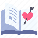 book, love, novel, page, read, romance, story icon