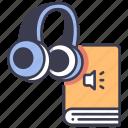 audio, audiobook, book, education, headphones, learning, sound icon