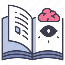 book, brain, eye, human, mind, psychology, vision icon