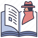 book, detective, mystery, retro, spy, story icon