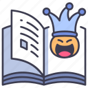 book, face, fun, funny, humor, joke, smile icon