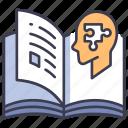 book, brain, education, human, jigsaw, knowledge, psychology icon