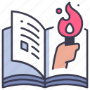 action, adventure, book, journey, story, torch icon