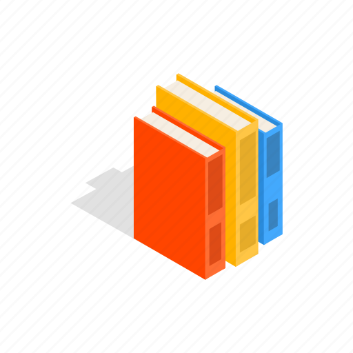 book, education, isometric, literature, paper, row, textbook icon