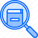 book, literature, magnifier, reading, search, shop icon