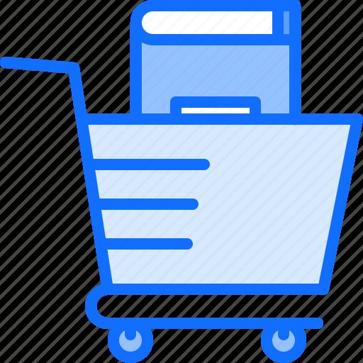 book, cart, literature, reading, shop, shopping icon