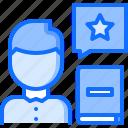 book, feedback, literature, man, reading, review, shop icon