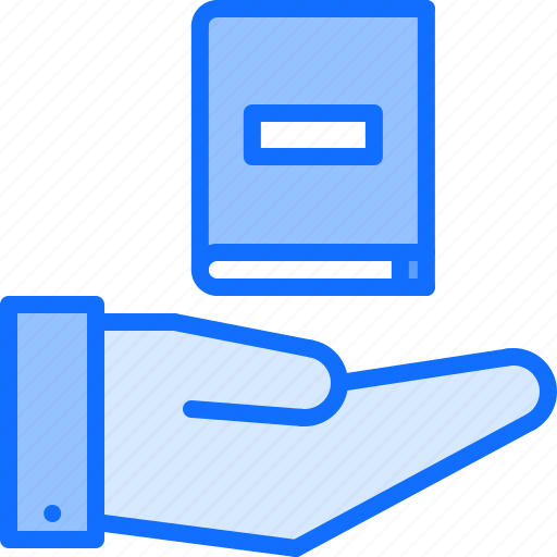 book, hand, literature, purchase, reading, shop, support icon