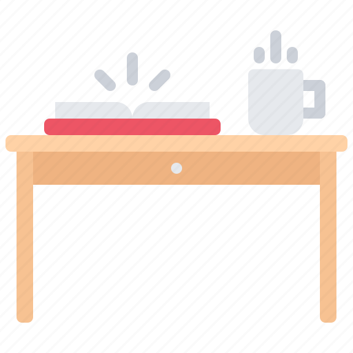 book, cup, literature, reading, shop, table icon
